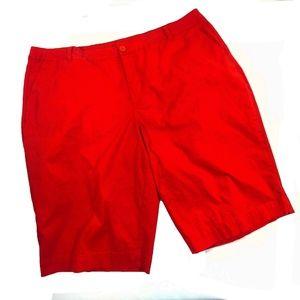 Avenue Shorts Plus Size 22 Red Bermuda Chino